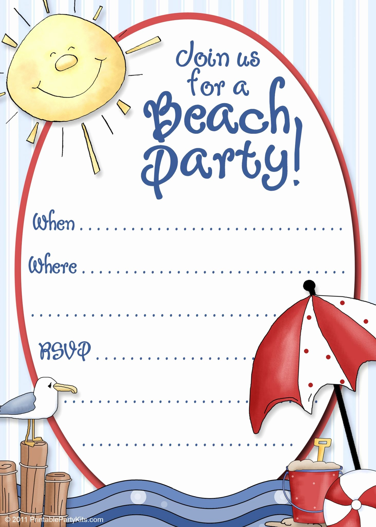 Beach Party Invitation Template Awesome Beach Party Invitation Templates