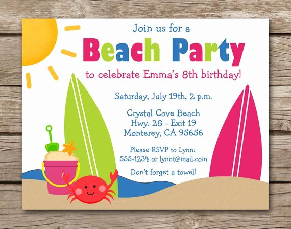 Beach Party Invitation Template Beautiful Beach Party Invitation Beach Birthday Invitation Beach
