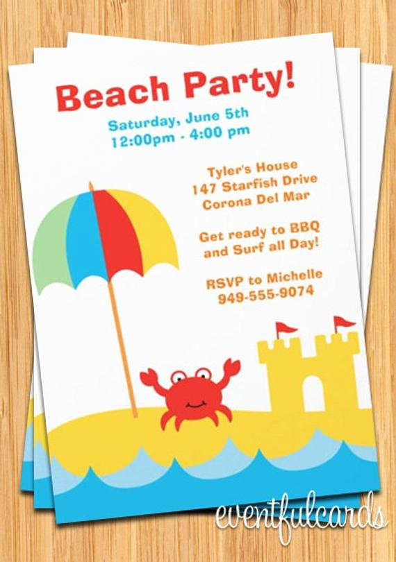 Beach Party Invitation Template Beautiful Beach Party Invitations