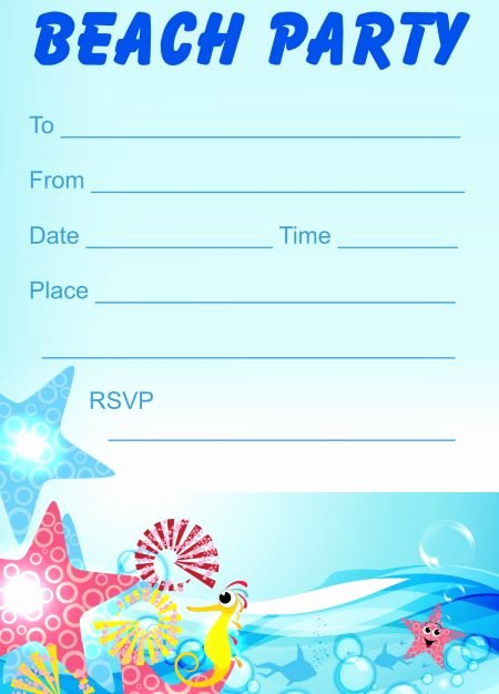 Beach Party Invitation Template Beautiful Printable Beach Party Invitations