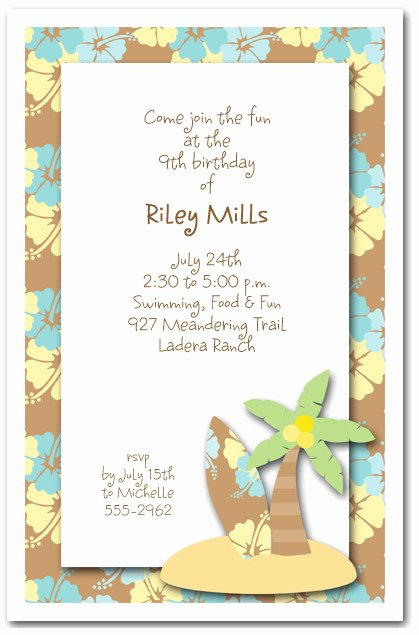 Beach Party Invitation Template Beautiful Surf S Up Invitations Beach Party Invitations
