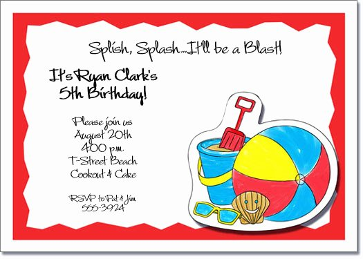 Beach Party Invitation Template Best Of Kids Beach Party Invitations Beach Invitations Pool