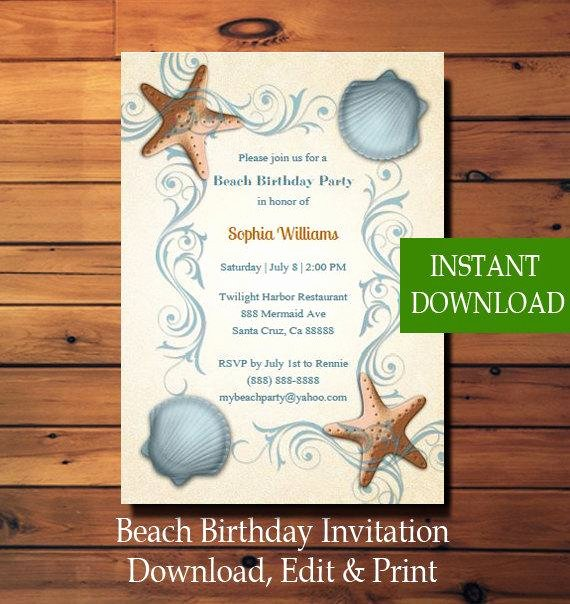 Beach Party Invitation Template Inspirational Beach Birthday Invitation Template Beach Adult Birthday