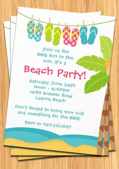 Beach Party Invitation Template Lovely Birthday Party Invitations Wording Samples