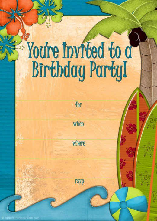 Beach Party Invitation Template Lovely Free Printable Beach Party Luau and Bbq Invitations