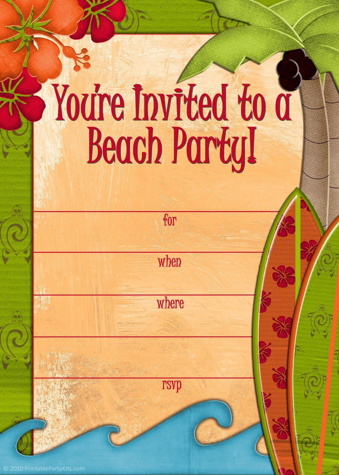Beach Party Invitation Template Luxury Free Printable Party Invitations Free Invites for A
