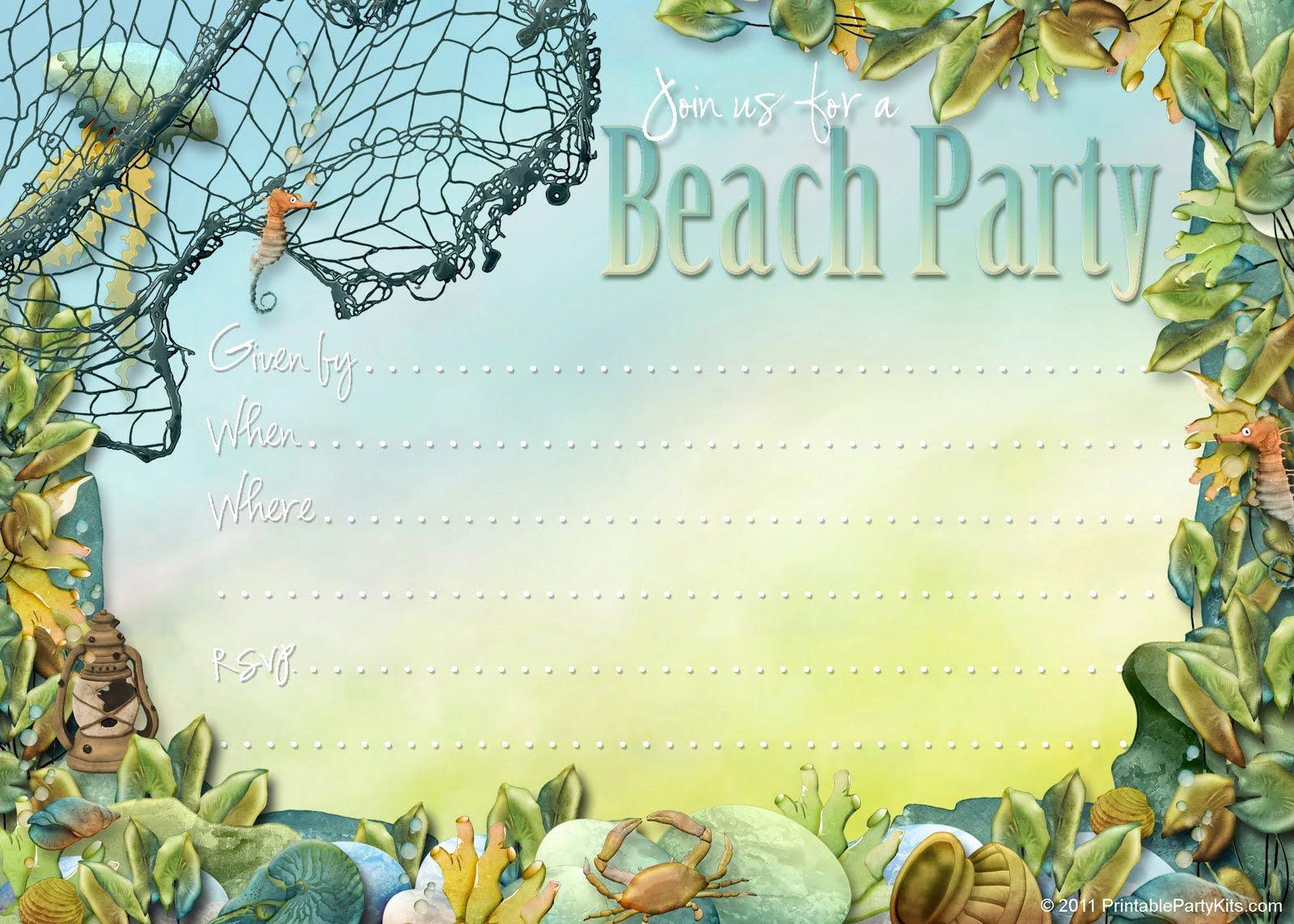 Beach Party Invitation Template Luxury Invitation Card Beach themed Invites Invite Card Ideas