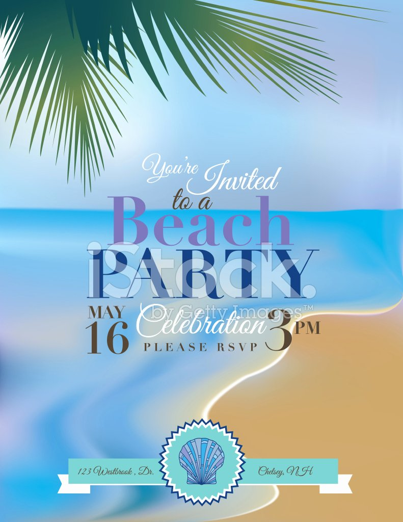 Beach Party Invitation Template New Beach or Tropical Party Invitation Template Stock Photos