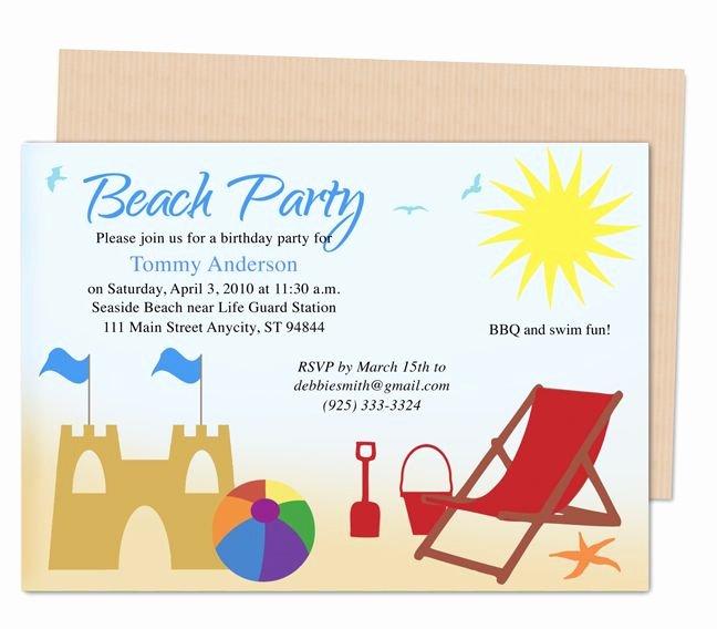 Beach Party Invitation Template Unique 23 Best Kids Birthday Party Invitation Templates Images On