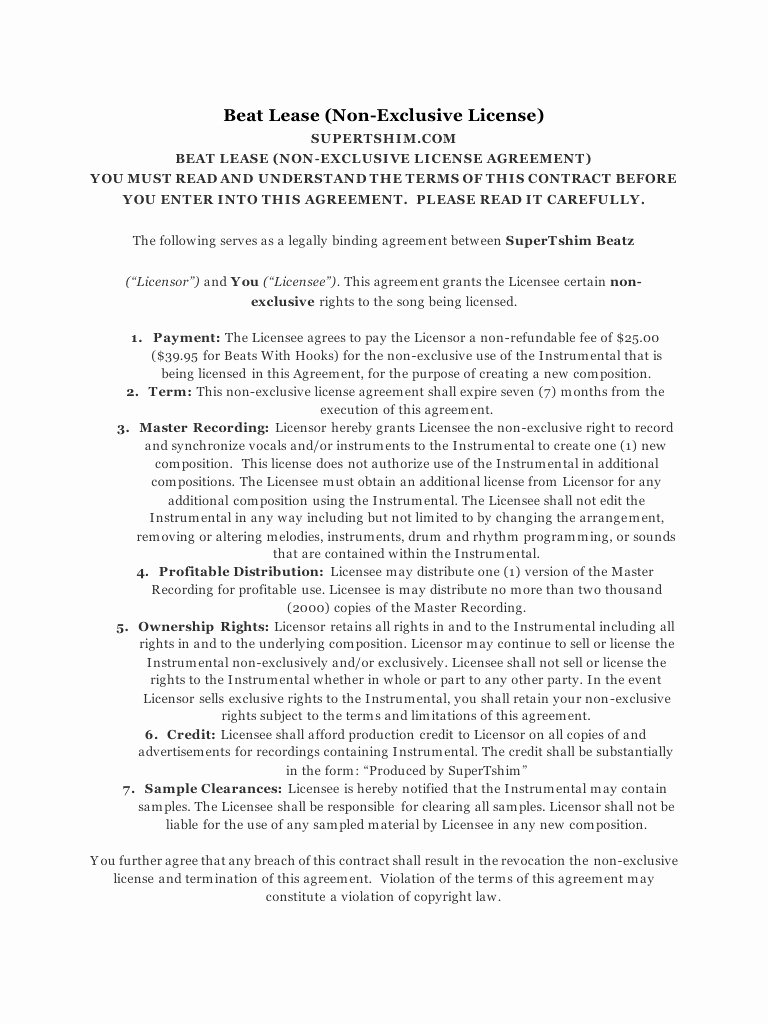 Beat Lease Contract Template Luxury Beat Lease Agreement 2016 by Tshim Pdf Archive