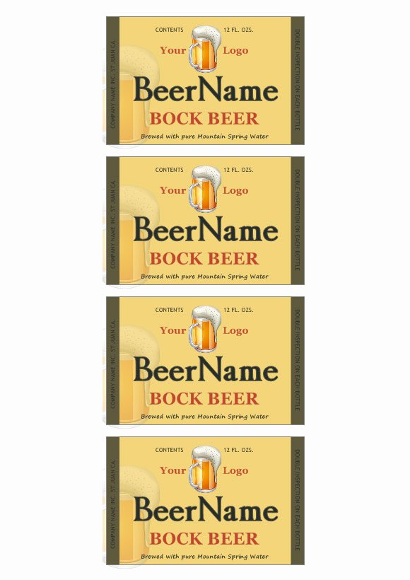 Beer Label Template Free Luxury Beer Label Template
