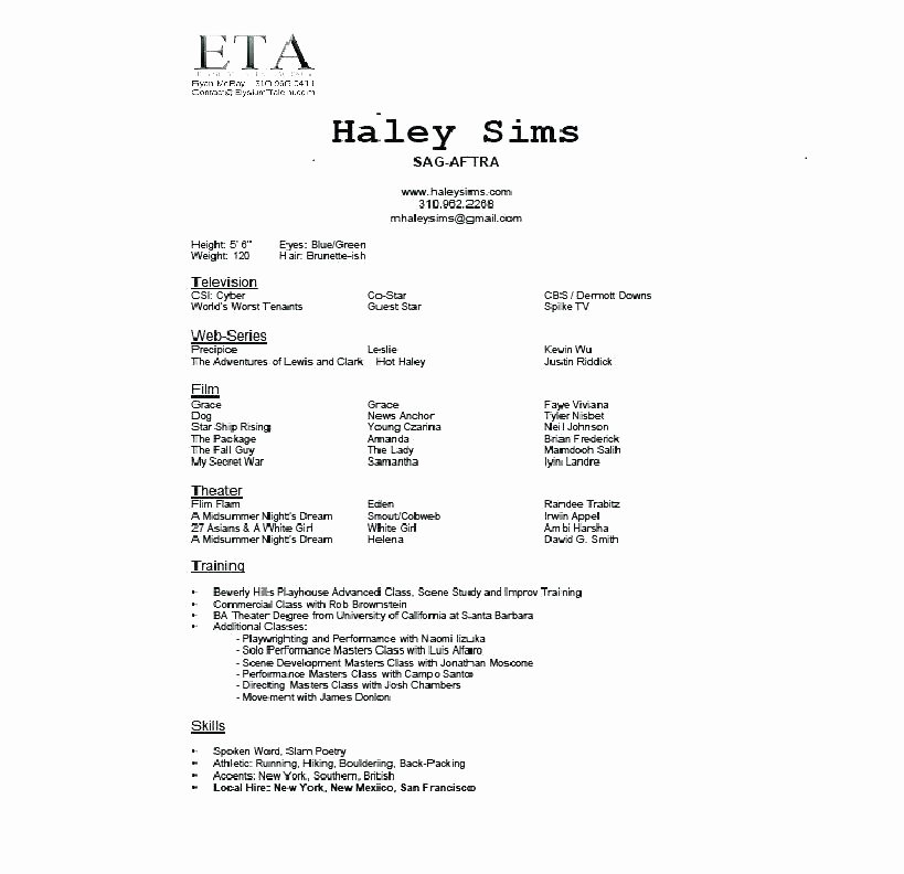 Beginner Acting Resume Template Awesome 15 Beginners Acting Resume