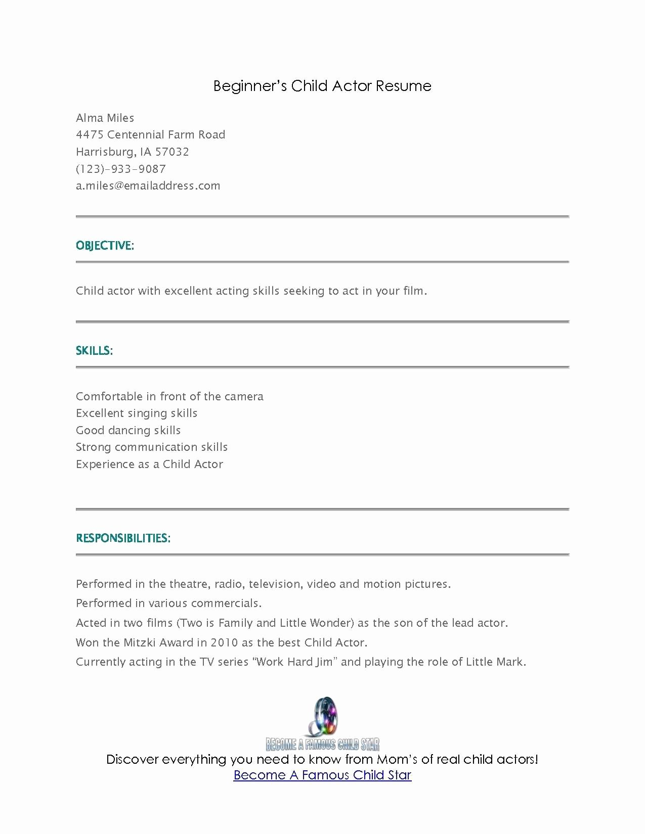 Beginner Acting Resume Template Awesome Acting Resume Sample for Beginners How to Make An Acting