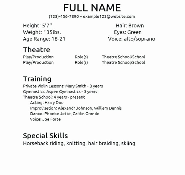Beginner Acting Resume Template Awesome Beginner Acting Resume Best Resume Collection