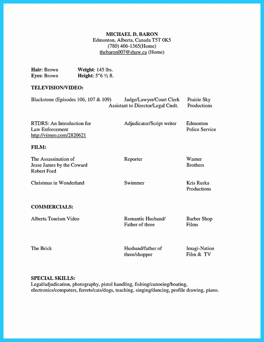Beginner Acting Resume Template Awesome Brilliant Acting Resume Template to Get Inspired