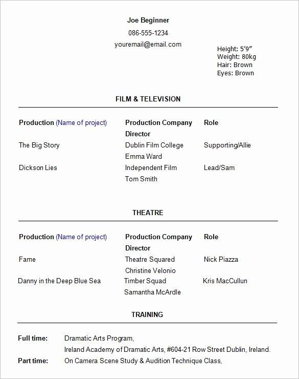 Beginner Acting Resume Template Best Of Beginner Actor Resume Best Resume Collection