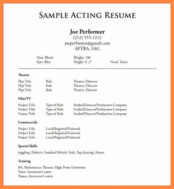 Beginner Acting Resume Template Fresh 5 Beginner Acting Resume