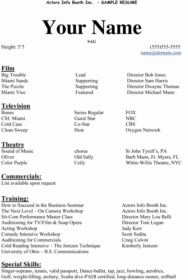 Beginner Acting Resume Template Inspirational Acting Resumes Examples Best Resume Collection