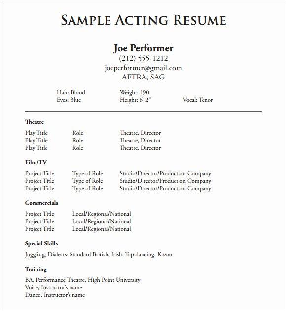 Beginner Acting Resume Template Lovely 20 Useful Sample Acting Resume Templates to Download