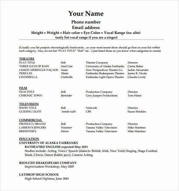Beginner Acting Resume Template Luxury 20 Useful Sample Acting Resume Templates to Download