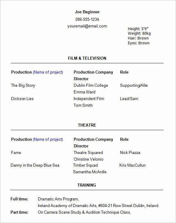 Beginner Acting Resume Template Unique 11 Acting Resume Templates Free Samples Examples