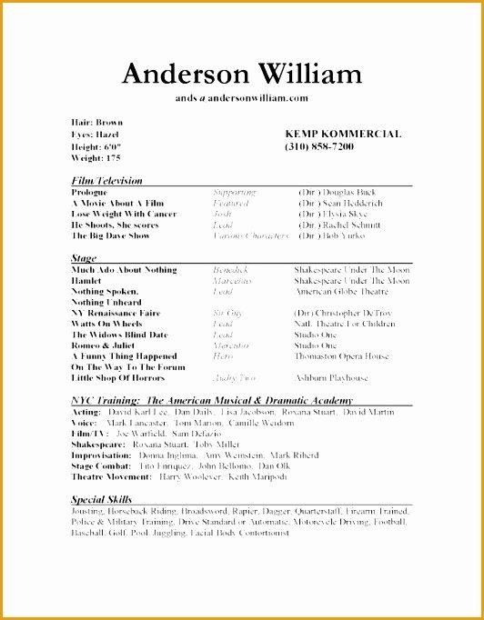 Beginner Actor Resume Template Awesome 8 Beginner Acting Resume Sample