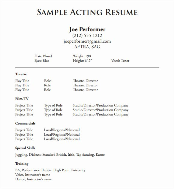 Beginner Actor Resume Template Best Of 20 Useful Sample Acting Resume Templates to Download