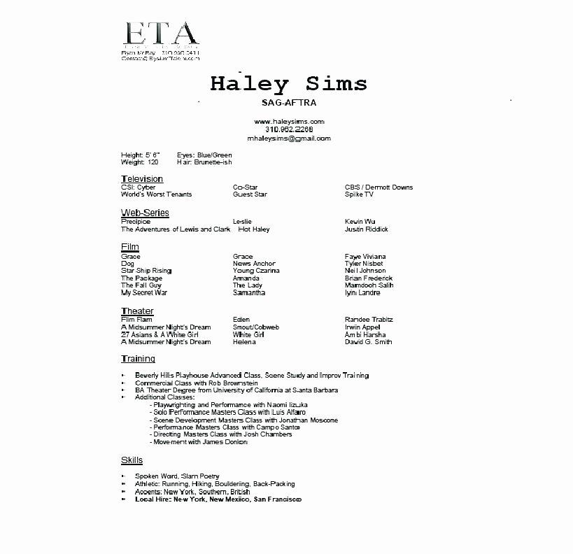 Beginner Actor Resume Template Elegant 15 Beginners Acting Resume