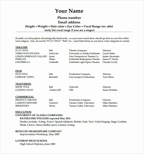 Beginner Actor Resume Template Fresh 20 Useful Sample Acting Resume Templates to Download