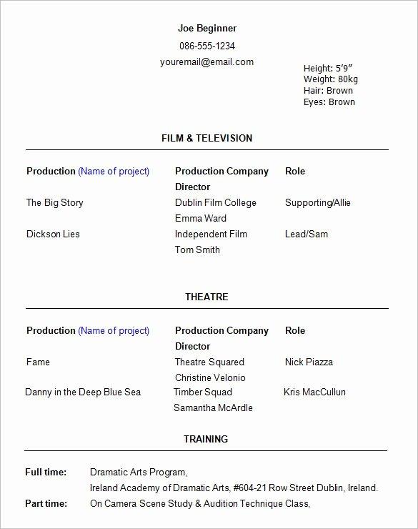 Beginner Actor Resume Template Fresh Best 25 Acting Resume Template Ideas On Pinterest