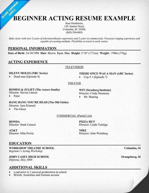 Beginner Actor Resume Template Inspirational Free Beginner Acting Resume Sample Resume Panion