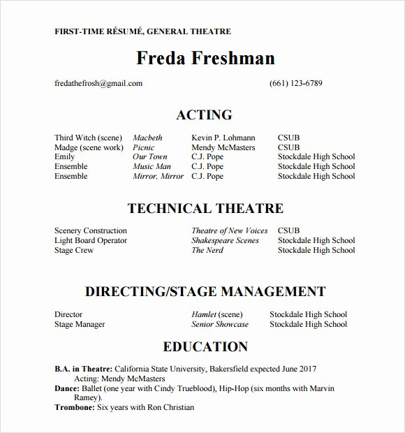Beginner Actor Resume Template Lovely 20 Useful Sample Acting Resume Templates to Download
