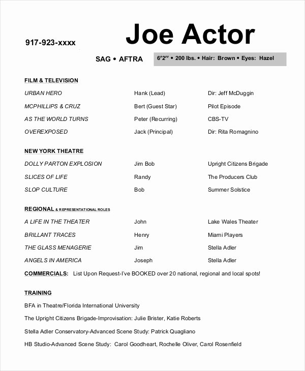 Beginner Actor Resume Template Luxury 10 Actor Resume Examples Pdf Doc