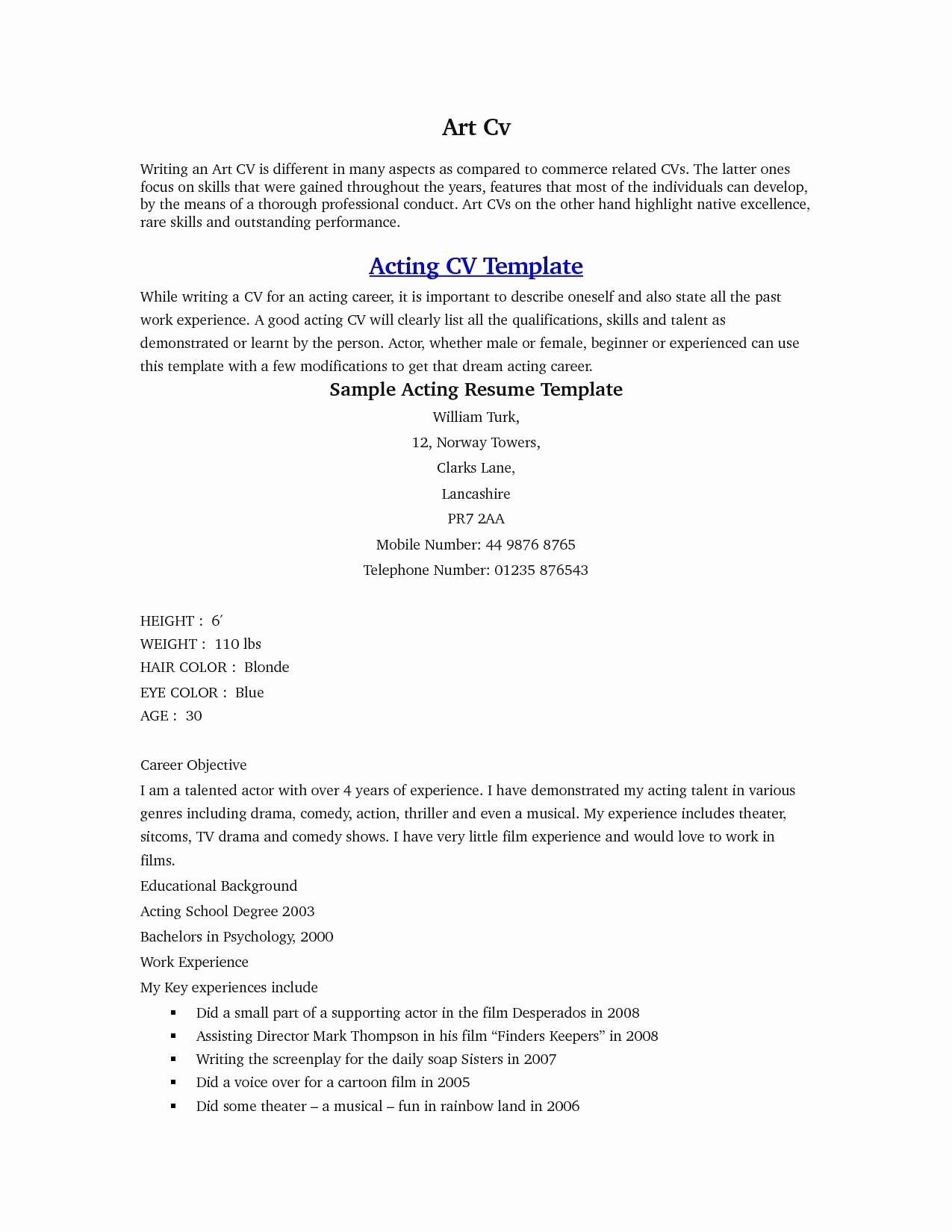 Beginner Actor Resume Template Luxury 35 Fast Beginner Resume Examples Si A – Resume Samples