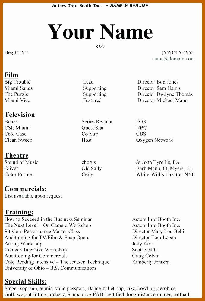 Beginner Actor Resume Template New 3 4 Acting Resume Examples