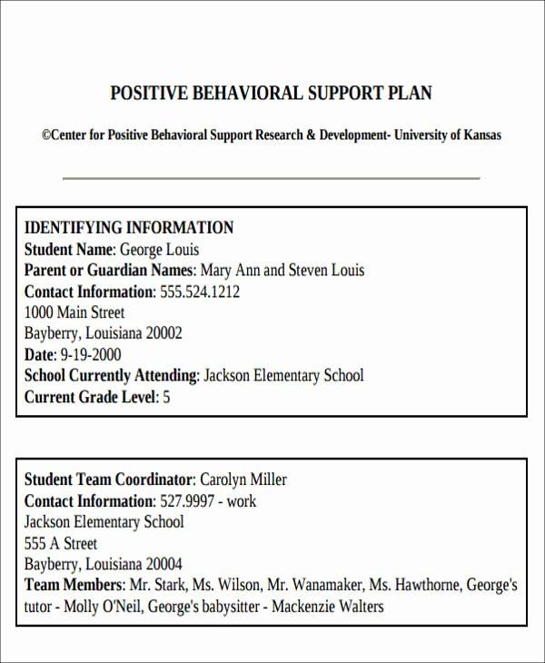 Behavior Intervention Plan Template Best Of 6 Behavior Intervention Plan Examples