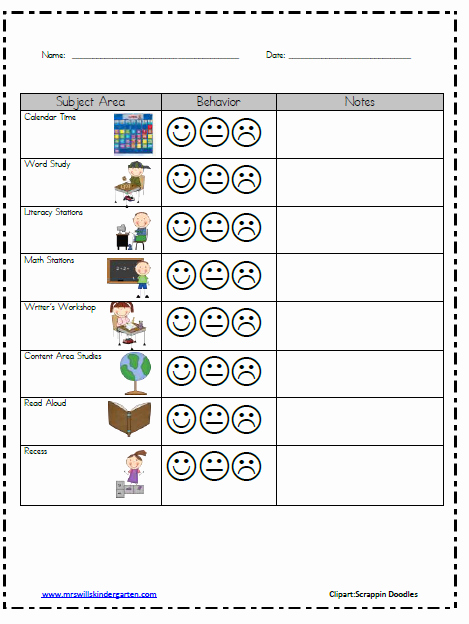 Behavior Management Plan Template Awesome Classroom Behavior Mrs Wills Kindergarten