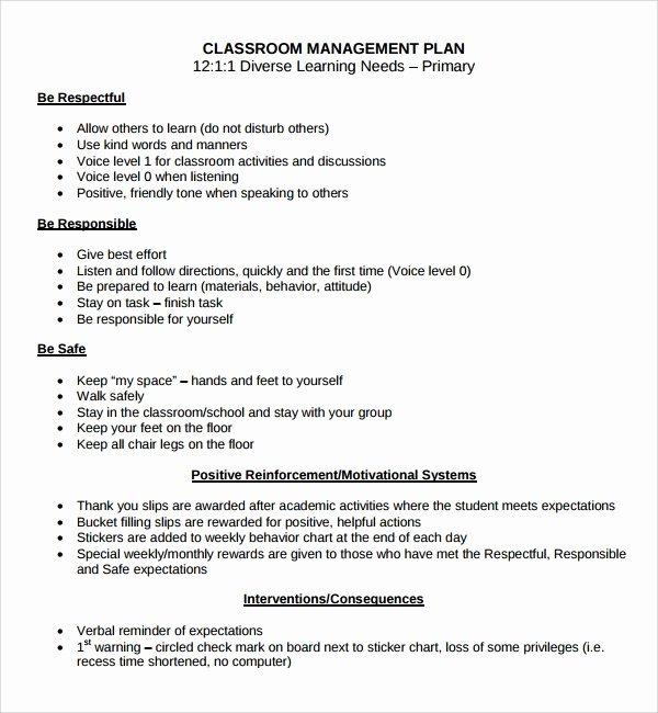 Behavior Management Plan Template Beautiful Sample Classroom Management Plan Template 9 Free