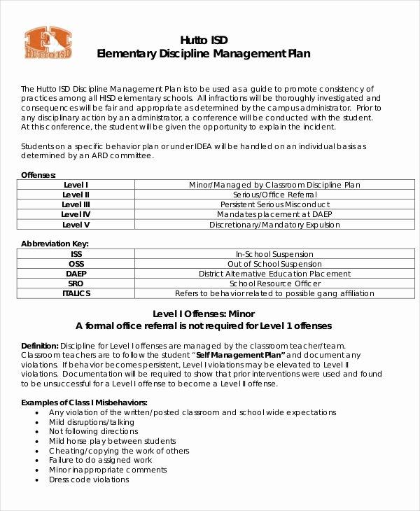 Behavior Management Plan Template New 10 Classroom Management Plan Templates Free Sample