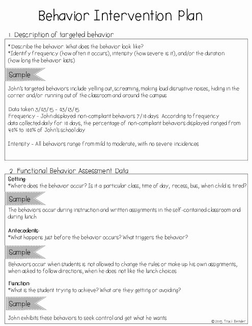 Behavior Modification Plan Template Beautiful the Bender Bunch Creating A Behavior Intervention Plan Bip
