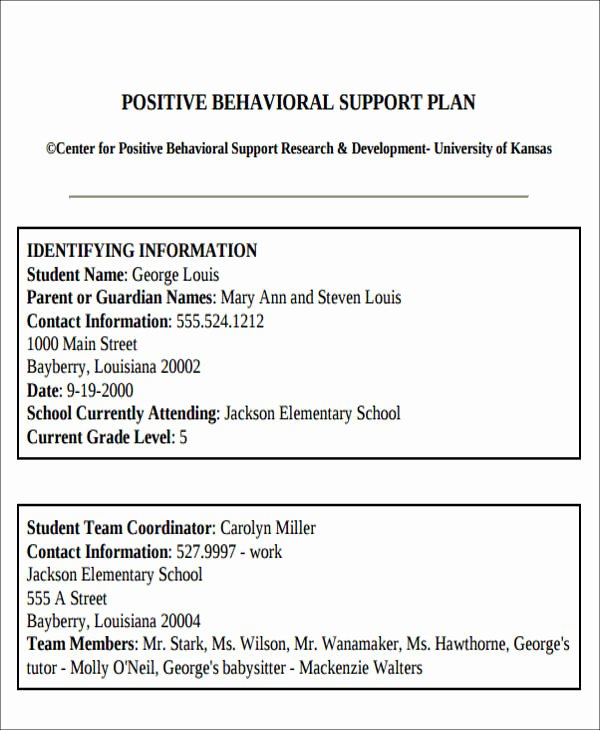 Behavior Modification Plan Template Inspirational 6 Behavior Intervention Plan Examples