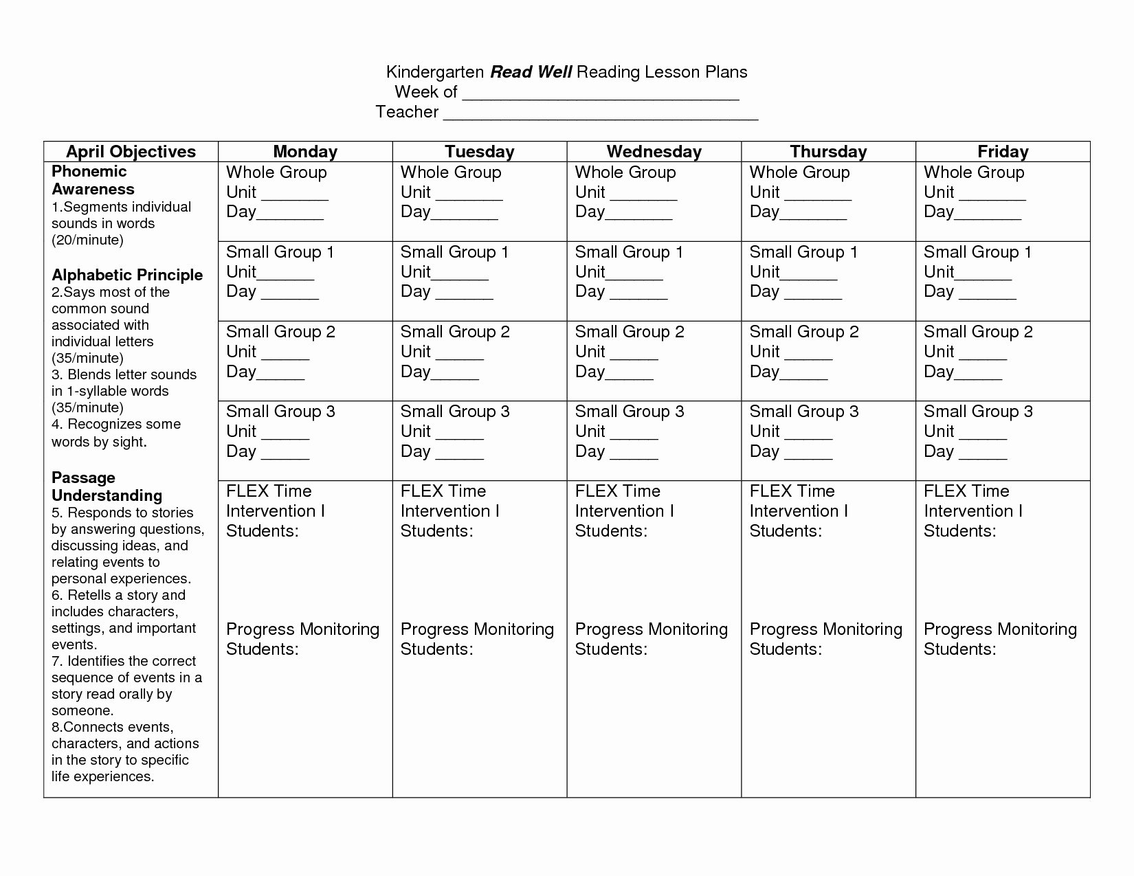 Best Lesson Plan Template Unique Guided Reading Lesson Plan Template Kindergarten – Best