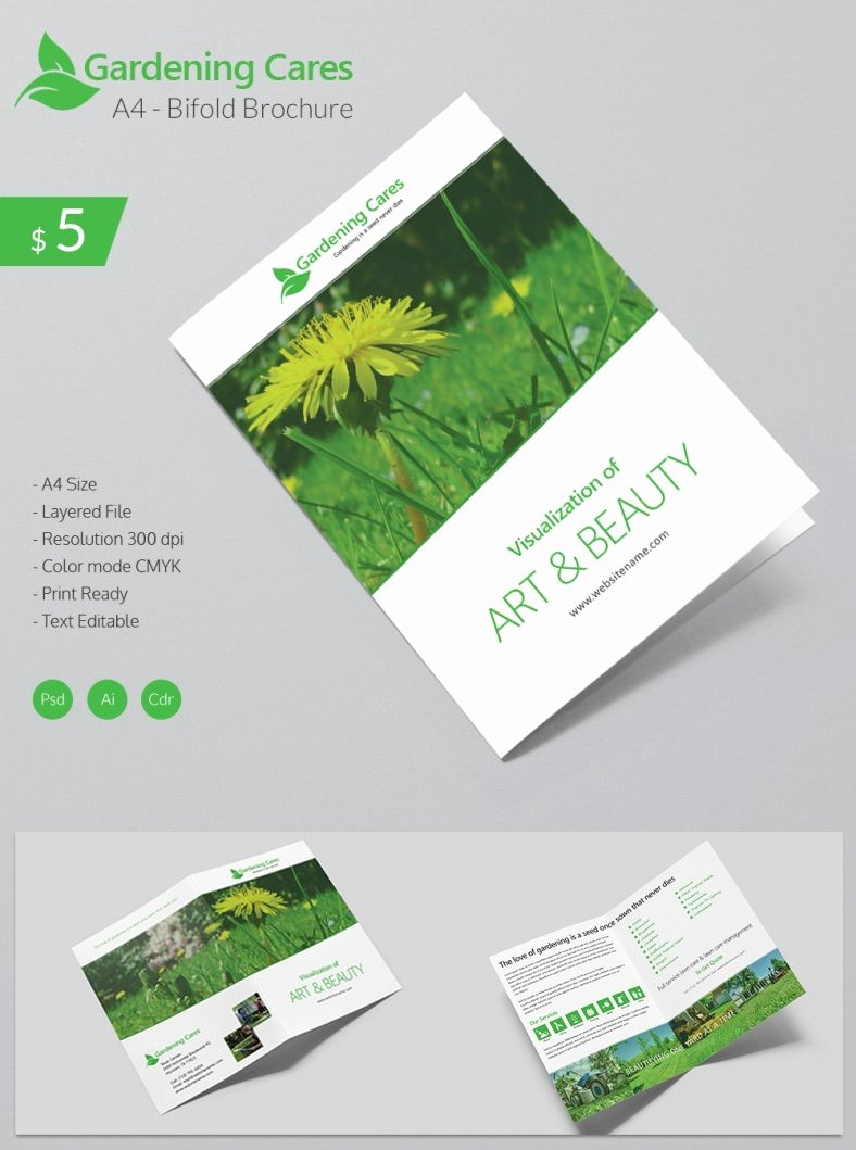 Bi Fold Brochure Template Best Of Beautiful Gardening Care A4 Bi Fold Brochure Template