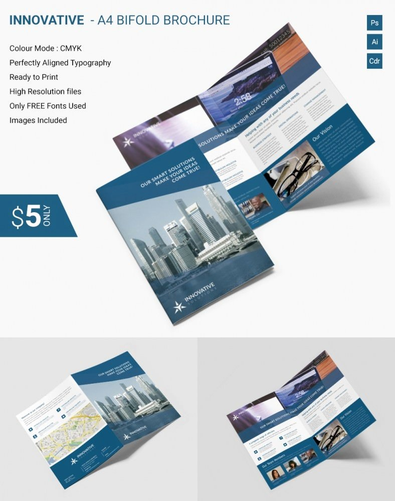 Bi Fold Brochure Template Fresh Elegant Innovative A4 Bi Fold Brochure Template