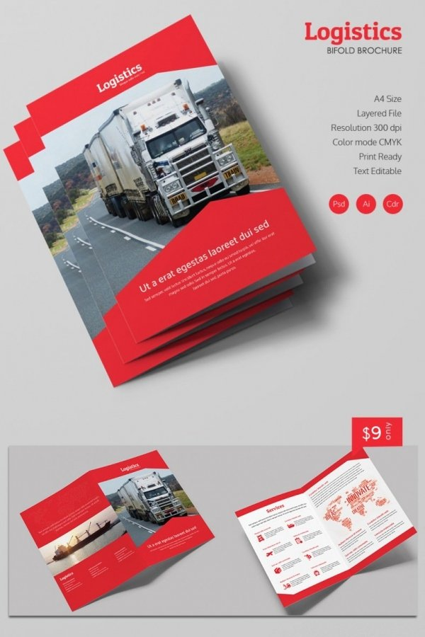 Bi Fold Brochure Template Lovely Modern Logistics A4 Bi Fold Brochure Template