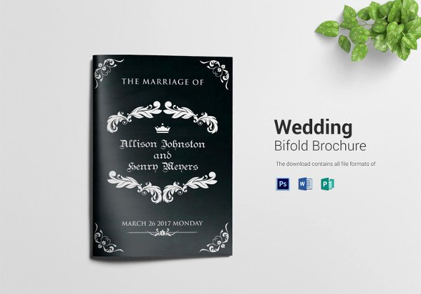 Bi Fold Card Template Unique 67 Wedding Program Template Free Word Pdf Psd