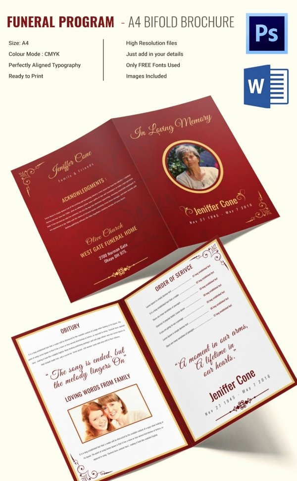 Bi Fold Program Template Awesome 13 Printable Obituary Templates