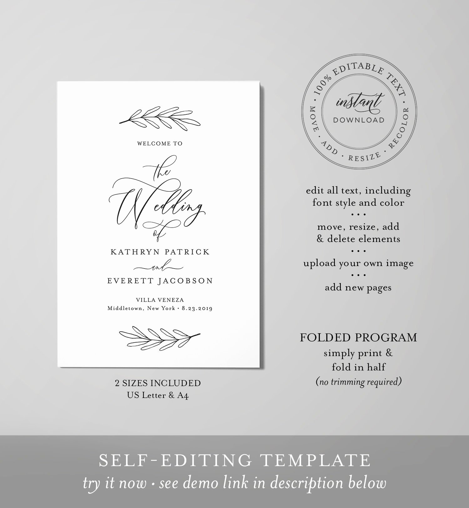 Bi Fold Program Template Awesome Bi Fold Wedding Program Template Minimalist order Of