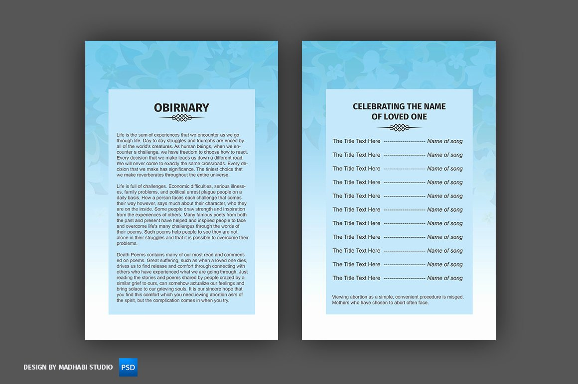 Bi Fold Program Template Awesome Funeral Program Template Bi Fold Brochure Templates On