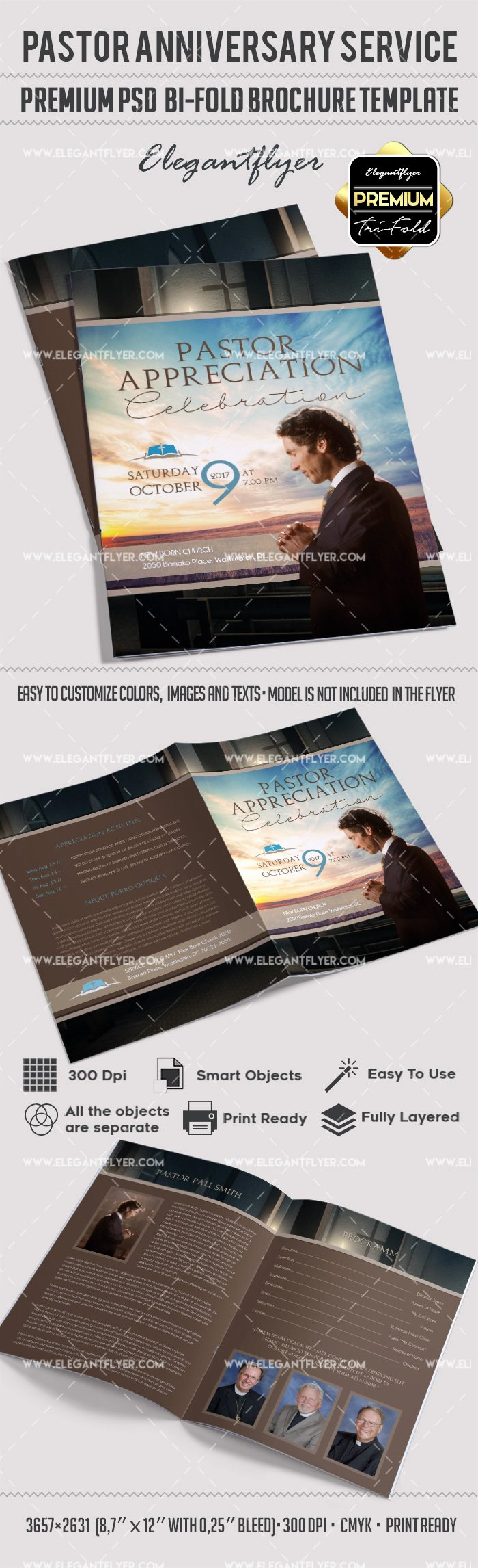 Bi Fold Program Template Awesome Pastor Appreciation Day Brochure – by Elegantflyer